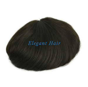 Elegant Hair swiss Lace with 1'' PU Back and Sides Double Layer Lace Front Men's Hairpieces