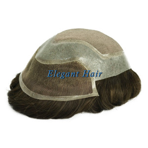 Elegant Hair Fine Mono with Thin Skin and Lace Front Stock Hairpieces for Men