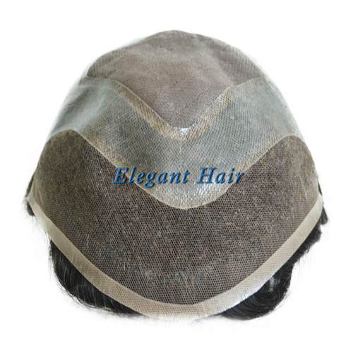 Elegant Hair mono base with PU around and lace front  #1B color toupee