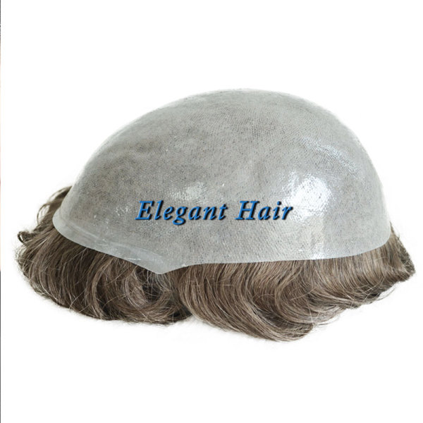 Poly Skin High Quality Short Black Mens Toupees Hair Pieces