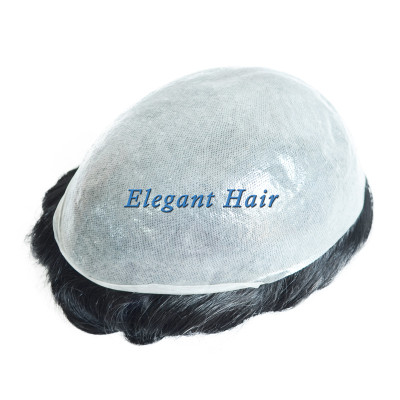 Skin PU Men's Toupee 8x10 Base Human Hair Replacement Natural Hair System
