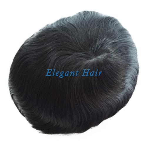 Skin PU Men's Toupee 8x10 Base Human Hair Replacement Natural Hair System