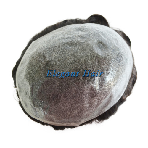 Indian Human remy Hair Invisible Thin Skin Injected Toupee in stock