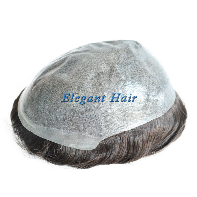 Man toupee thin skin 0.08-0.10mm injection knot toupee