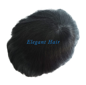 Self-glued toupee with different thickness PU base
