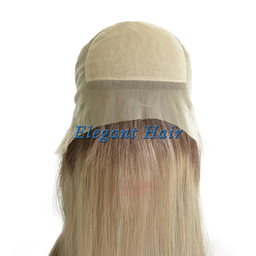 Swiss lace human hair toupee with silk top front