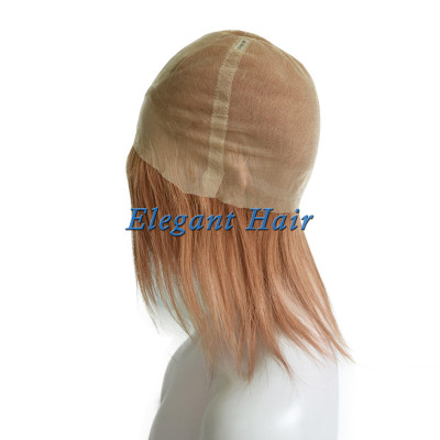 Fine mono lace human hair wig with pu skin