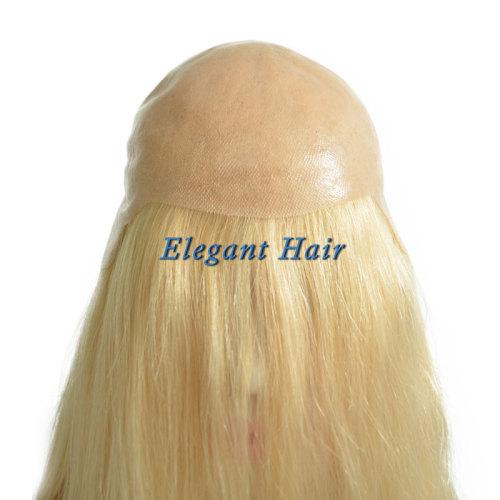 Full pu skin chinese virgin hair wig