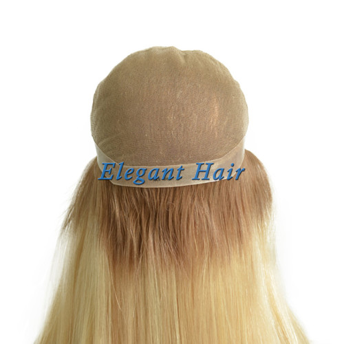 Full swiss lace silk top front human hair wig with pu skin arounded