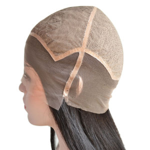 Custom Ladies PU and Silk Base Real Human Hair Silk Top Wig