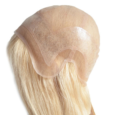 Blond hair super fine swiss lace wig for white woman