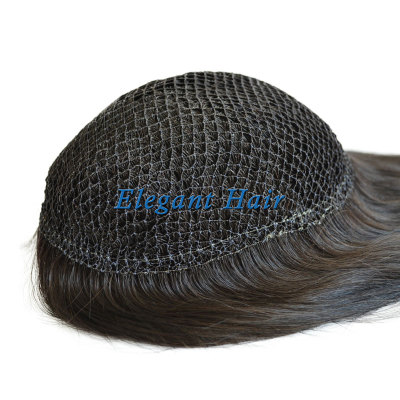 Human hair intergration fish net lace wig