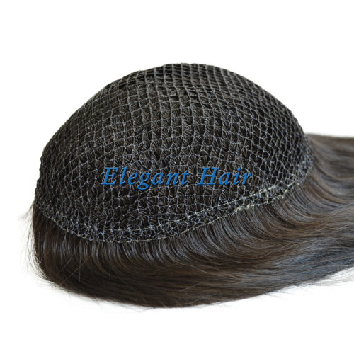 Human hair intergration fish net lace wig