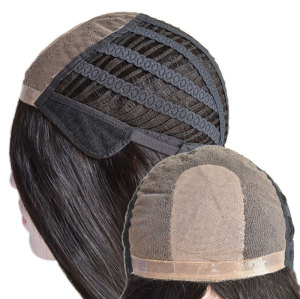 Customized Elasticated Machine-Made Weft and Lace Front Ladies natural parting