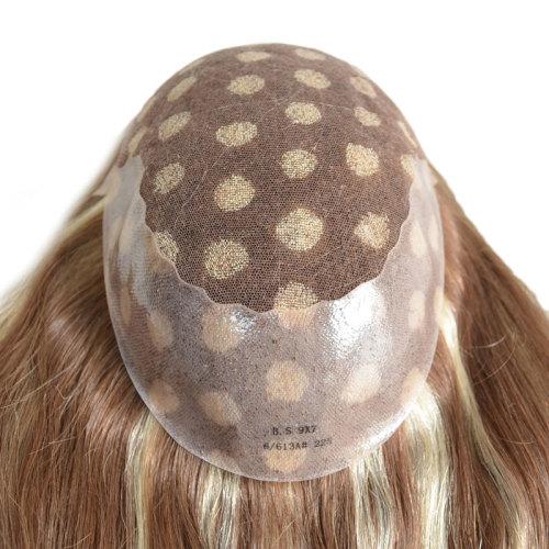 Natural human hair highlight color beautiful virgin remy women blonde toupee