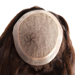 Silk Base And Poly with Gauze Woman Replacement System Hairpiece