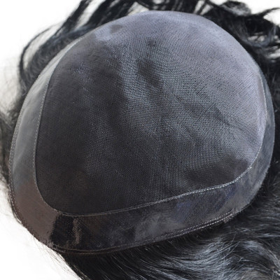 Customize men toupee with mono lace toupee black color