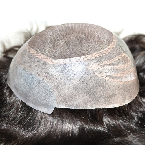 Mono Lace Toupees Hand Tied Hairpieces Human Hair Replacement Mens Toupees