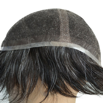 Super natural front hairline big size men's toupee in stock
