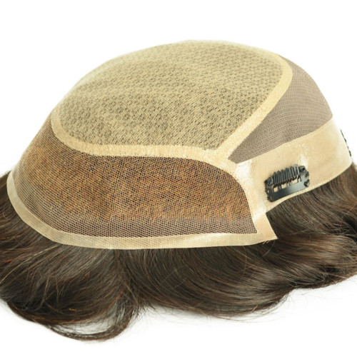 Custom Cheap Human Hair Toupee for Men Mono With Pu Around Hair Replacement System