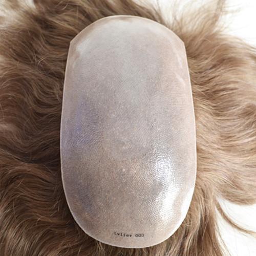 Men's Hair piece Human Hair Toupee Thin Skin Hair Replacement