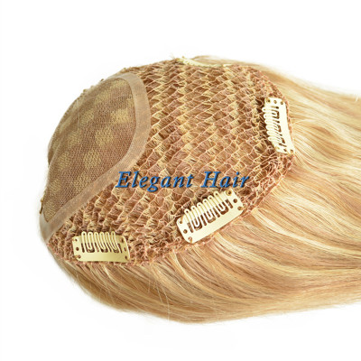 Chinese virgin hair fish net lace women toupee with lace parting