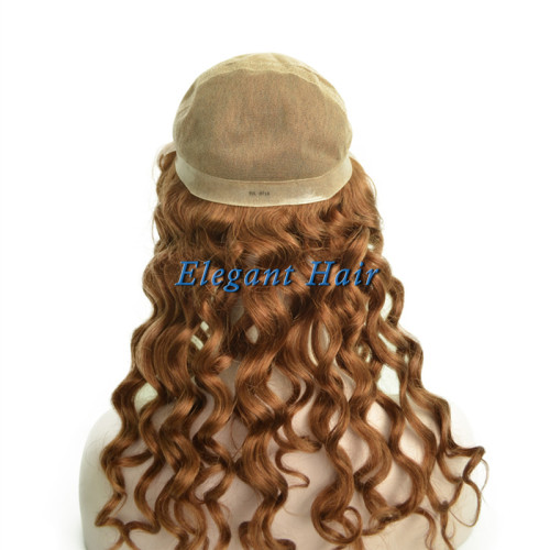 Full swiss lace silk top human hair wig with pu skin arounded
