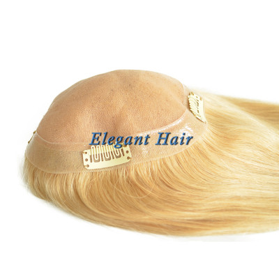 Chinese virgin hair fine mono lace women toupee
