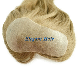 Chinese virgin hair pu skin T parting hair toupee