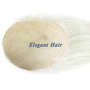 Synthetic hair fine mono lace men toupee