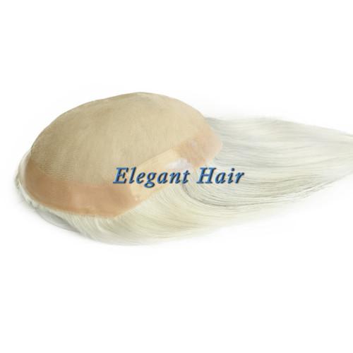 Synthetic hair fine mono lace men toupee