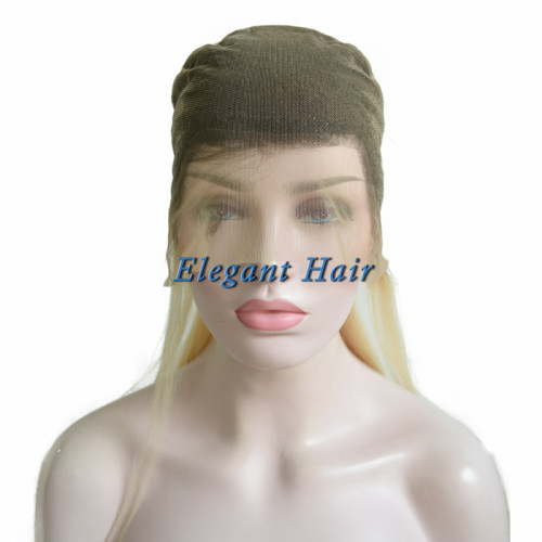 100% Remy Human Hair Straight Ombre Blonde Natural Front Full Lace Wig for Lady