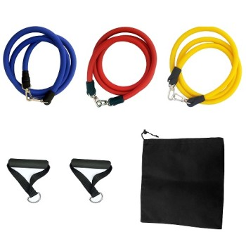 6-Piece Resistance Band Set-EVA Foam Handles and Carry Bag