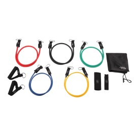 11-Piece Resistance Band Set with Carabiner,EVA Foam Handle,Door Anchor,Ankle Strap and Carry Bag
