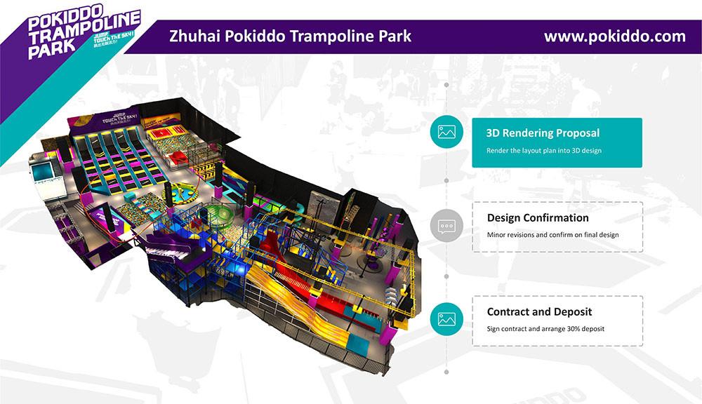 Indoor Trampoline Park 3D design