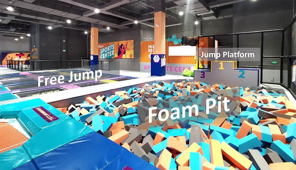 Family entertainment center trampoline park