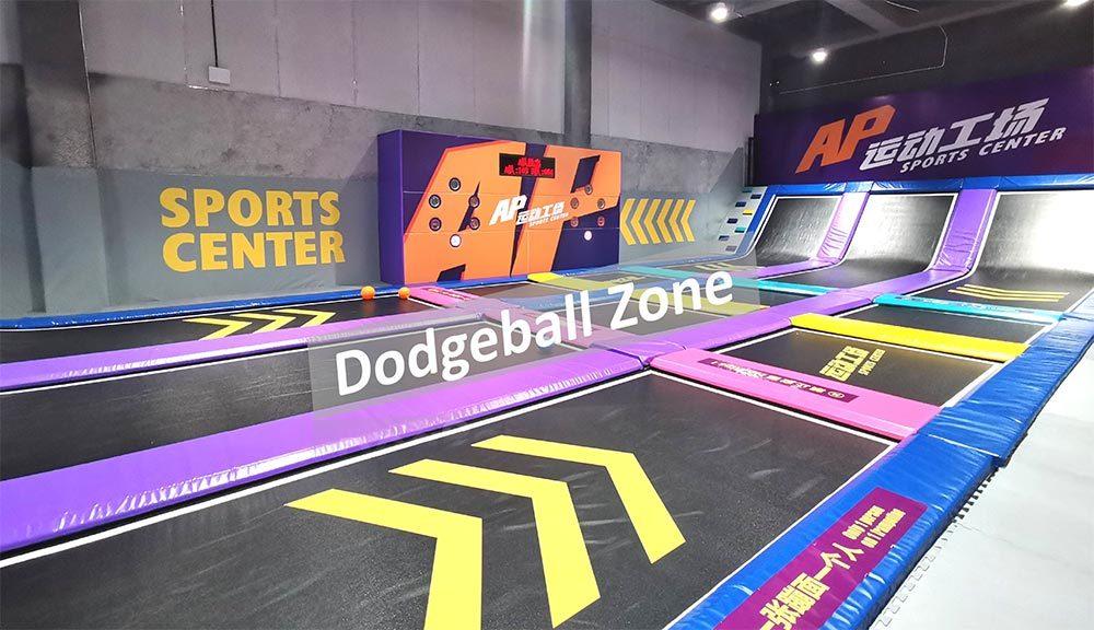 Family entertainment center trampoline dodgeball