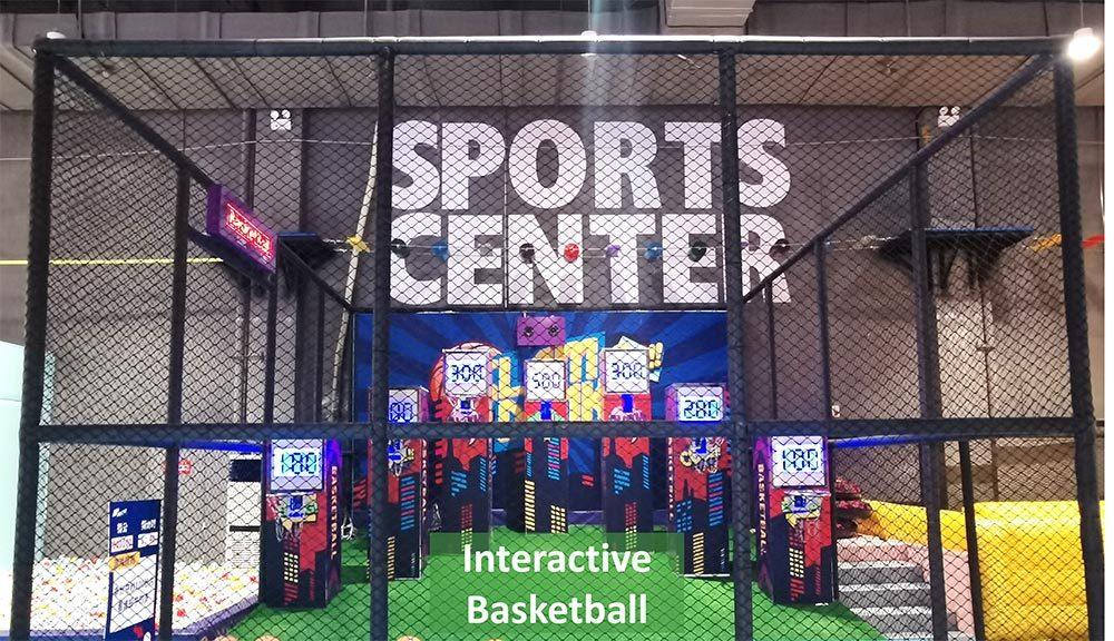 Family entertainment center interactive basketball