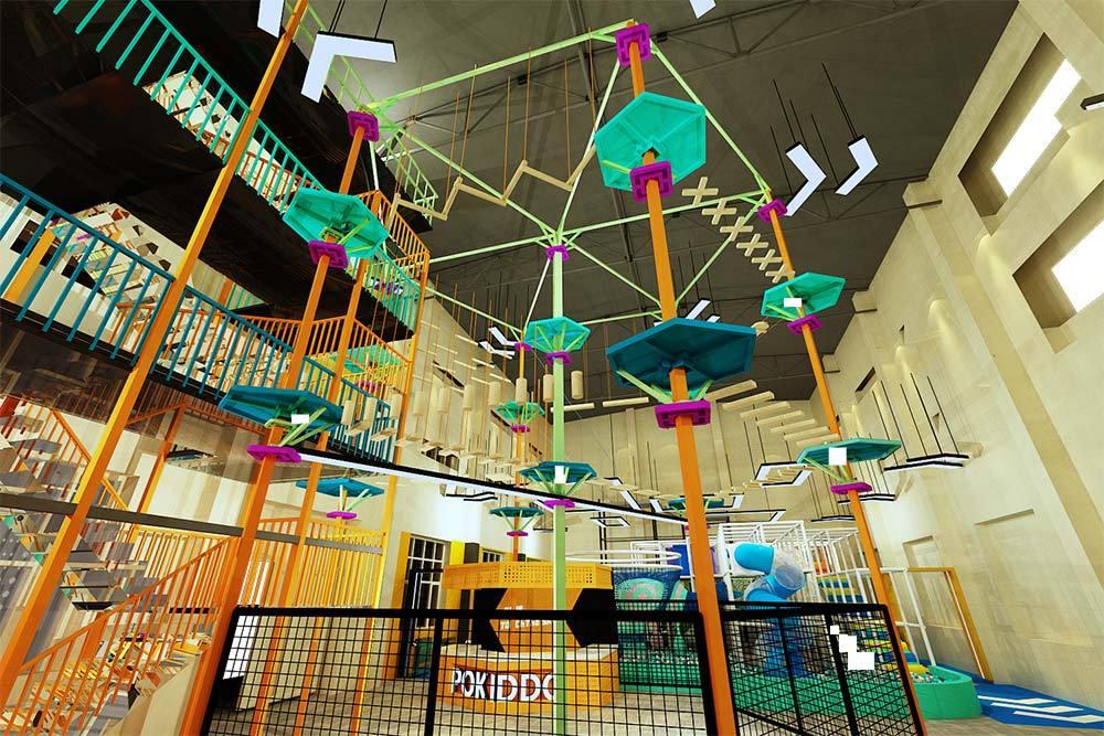 Pokiddo trampoline park ropes course