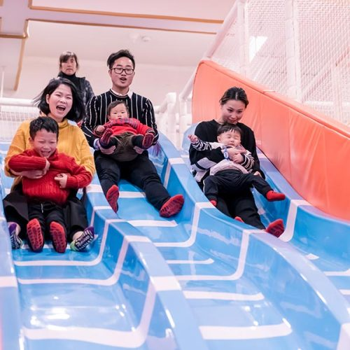 Indoor Playground Large Wave Slide/3-lane Fiberglass Slide