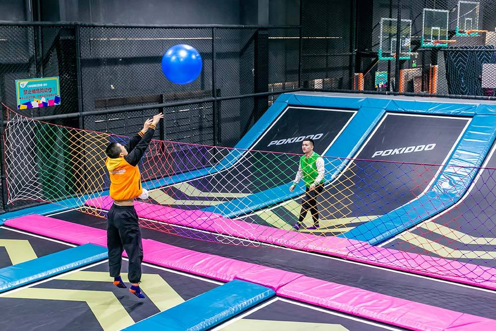 Badminton or Volleyball on Trampoline Park Dodgeball Zone