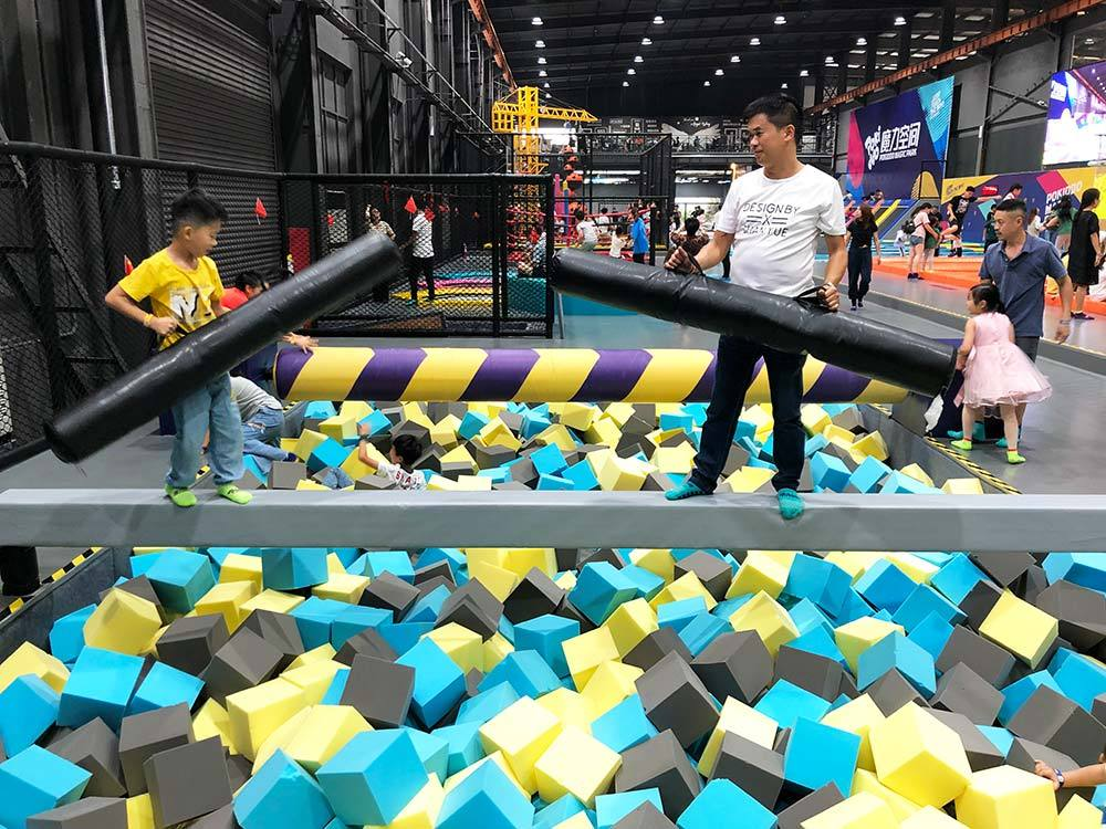 Battle Beam and Roll Beam above Foam Pit Zone