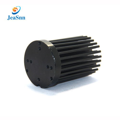 Customized Black Anodized Extruded Round Pin Heat Sink for Led Lighting