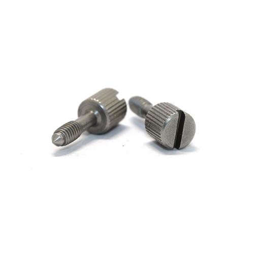 Custom Carbon Steel Slotted Knurled Head Captive  Thumb Screws