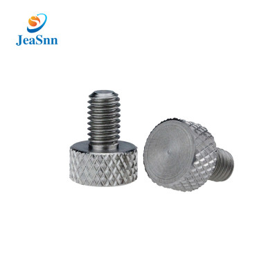 Customized Nickel Plated Flat Round Head Knurled Thumb Stainless Steel Screw