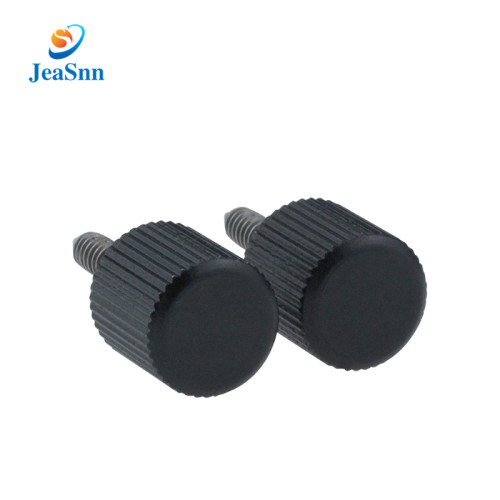 Black Plastic Knurled Head Aluminum Thumb Screw Fastener