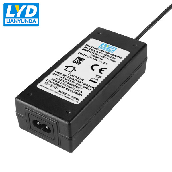 72w ac/dc adapter output 12v 6a power supply adapter