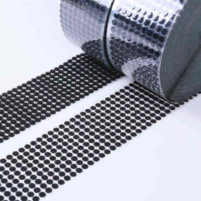 Yaoming customize adhesive tape hook and loop dots white 100% nylon