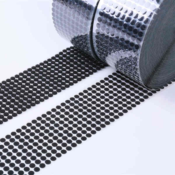Yaoming customize adhesive tape hook and loop dots white 100% nylon