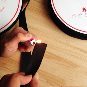 100%Nylon Material black Washable flame retardant hook and loop Fastener